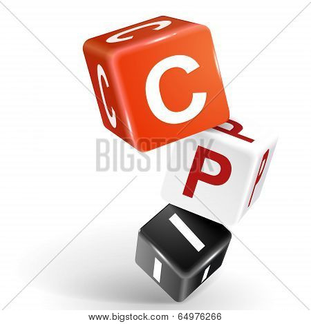 3D Dice Illustration With Word Cpi