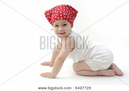 Baby With Red Scarf