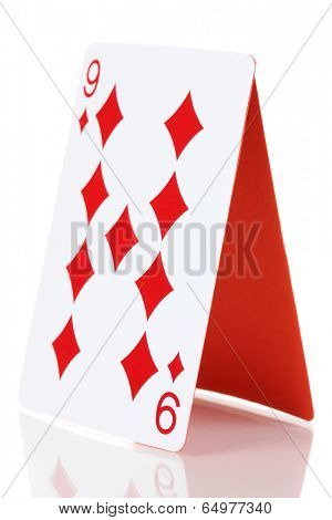 Card house isolated on white