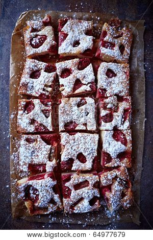 Strawberry and Rhubarb Cake Dusted with Icing Sugar