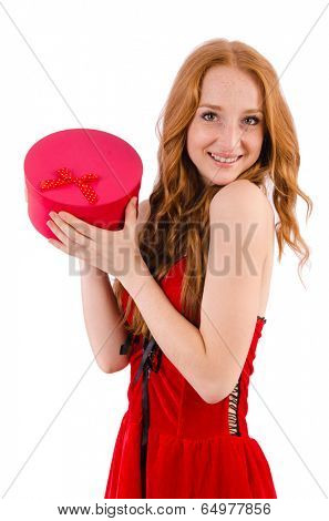 Pretty girl in red dress  with casket  isolated on white