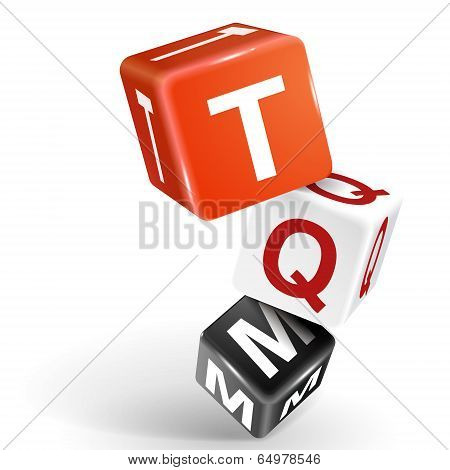3D Dice Illustration With Word Tqm