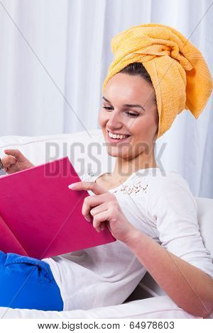 Woman Reading Funny Book