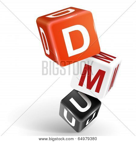 3D Dice Illustration With Word Dmu