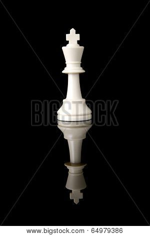 Chess Piece White King Reflection