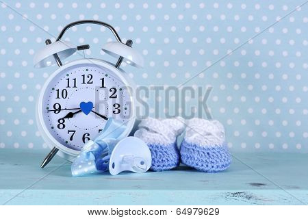 Baby Boy Nursery Blue And White Booties And Clock, On Aqua Vintage Shabby Chic Wood Table