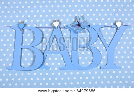 Baby boy nursery blue BABY letters bunting