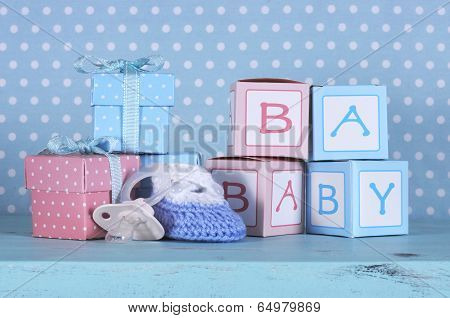 Baby Nursery Bootie, Dummy Pacifier And Baby Letters Pink And Blue Gift Boxes
