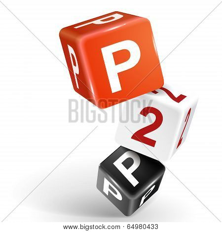 3D Dice Illustration With Word P2P