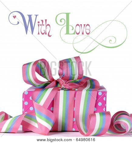 Beautiful Candy Color Gift With Bright Pink And Blue Polka Dots With Sample Text.