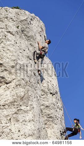 Rock Climbers In Action.