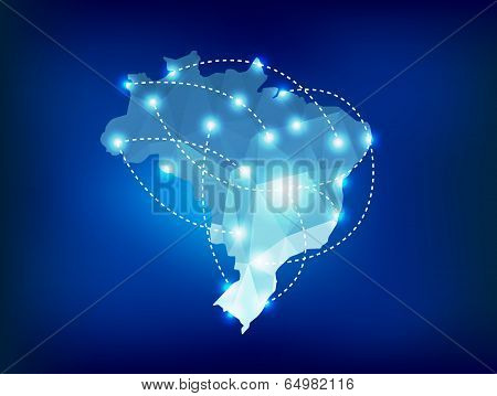 Brazil Country Map Polygonal With Spot Lights Places