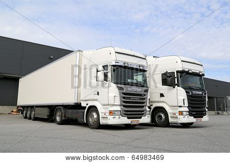 White Scania Trucks At Warehouse Building