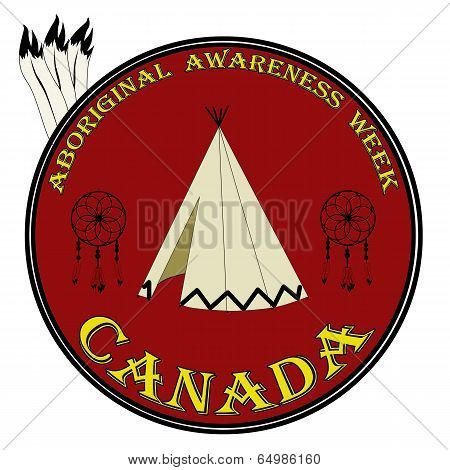 Aboriginal Awarness Week Sign, Labbel Vector Illustration