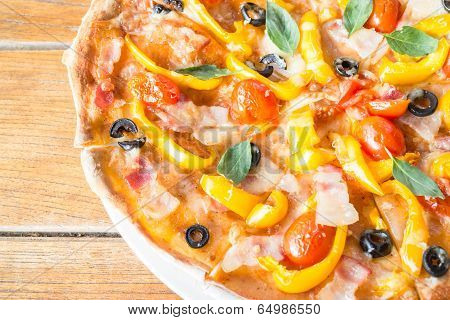 Colorful Ingredients Of Homemade Pizza