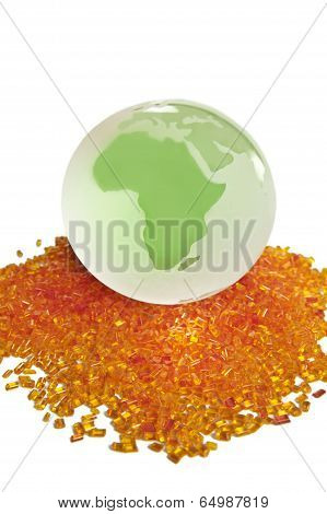 colorful plastic polymer granules batch isolated on white