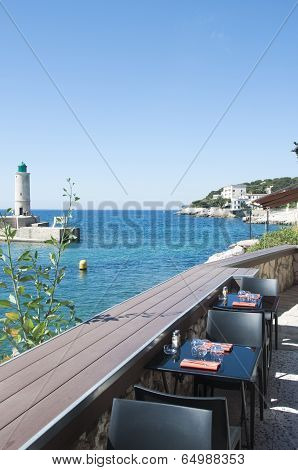Cassis Lighthouse And Restaurant In France