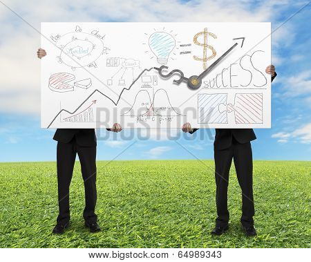 Men Lifting Board With Money Symbol Clock Hands And Doodles