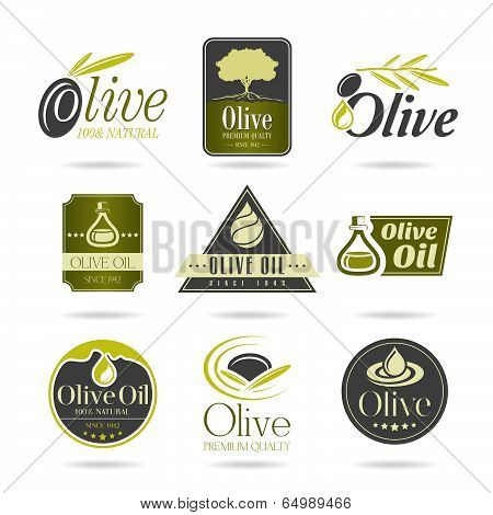 Olive oil icon set