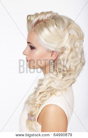 Sophistication. Profile Of Fashionable Girl With Ashen Dyed Curly Hairs