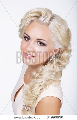Sophisticated Classy Blond With Silver Earrings