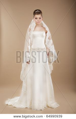 Young Bride In Wedding Lacy Dress Over Brown Background