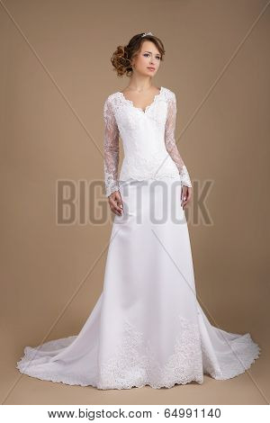 Graceful Exquisite Auburn Bride In Wedding Dress