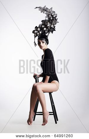 Artistic Fancy Woman Wearing Extraordinary Fancy Headdress