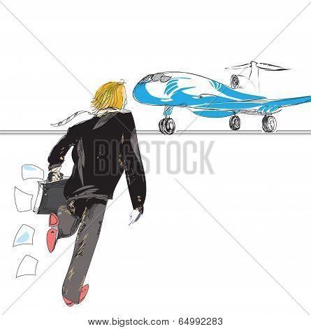 Man Rushing To A Plane