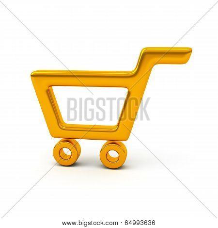 Empty golden shopping cart, 3d
