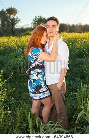 Affectionate Young Couple In The Countryside