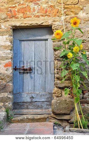 Blue Door and Sunflowers