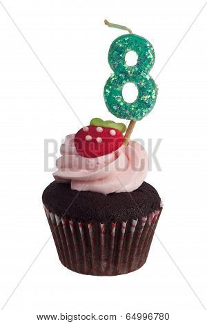 Mini Cupcake With Birthday Candle For Eight Year Old
