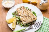stock photo of cod  - Cod  with Lentil - JPG