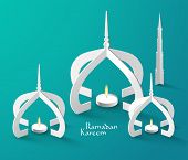 pic of pelita  - Vector 3D Muslim Paper Sculpture Oil Lamp - JPG