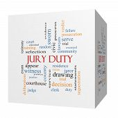 picture of jury  - Jury Duty 3D cube Word Cloud Concept with great terms such as appear serve juror and more - JPG