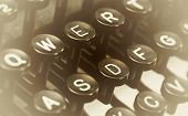 stock photo of qwerty  - Close up photo of antique typewriter keys shallow focus - JPG
