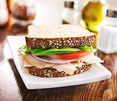 stock photo of deli  - deli meat sandwich with turkey - JPG