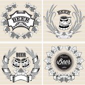 picture of hop-plant  - set of vector wreaths of rye and hops for beer - JPG
