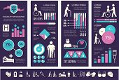 stock photo of handicap  - Flat Disability Infographics Elements plus Icon Set - JPG