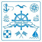 stock photo of marines  - nautical badges and decor marine elements with steering wheel - JPG