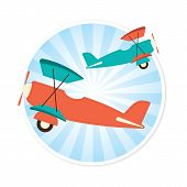 image of float-plane  - Illustration of two planes against a circular background - JPG