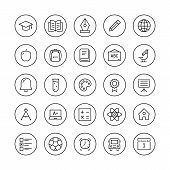 stock photo of atom  - Education and learning flat thin line icons set modern vector collection of high school objects and college items teaching symbols and educational equipment - JPG