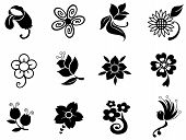 stock photo of carnivorous plants  - Fantasy flower silhouette icon collection set 1 create by vector - JPG