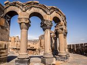 foto of armenia  - Ruins of the Zvartnots Cathedral in Armenia - JPG