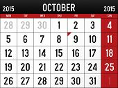 stock photo of october  - Illustration of the Calendar for October 2015 - JPG