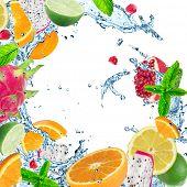 image of dragon fruit  - Fresh fruit with water splash over white background - JPG