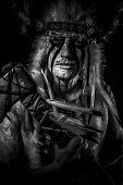 foto of indian chief  - American Indian chief with big feather headdress - JPG