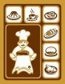 picture of yellow flower  - Stylized cook and sweet food icons set - JPG