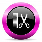 foto of barber  - barber pink glossy icon - JPG